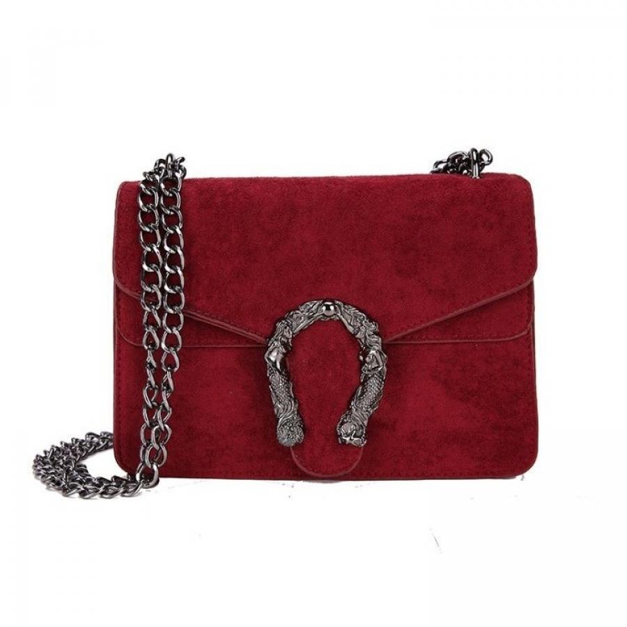 Dámska kabelka velúrová bordová