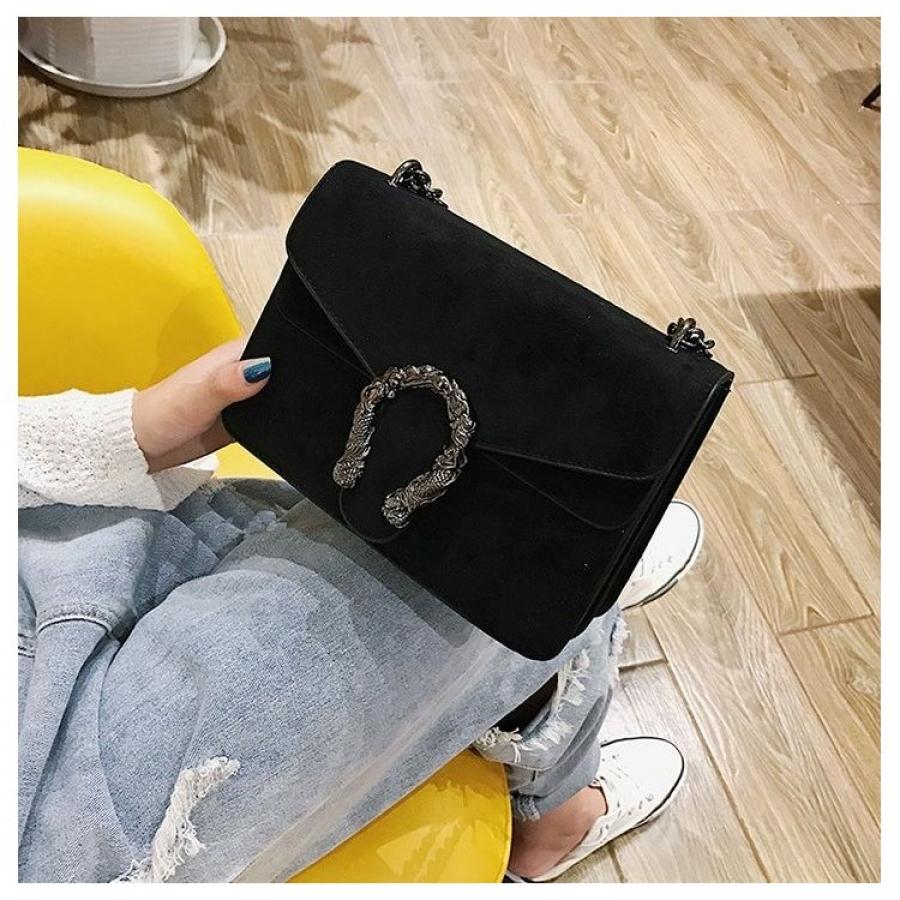 Dámska kabelka velúrová čierna