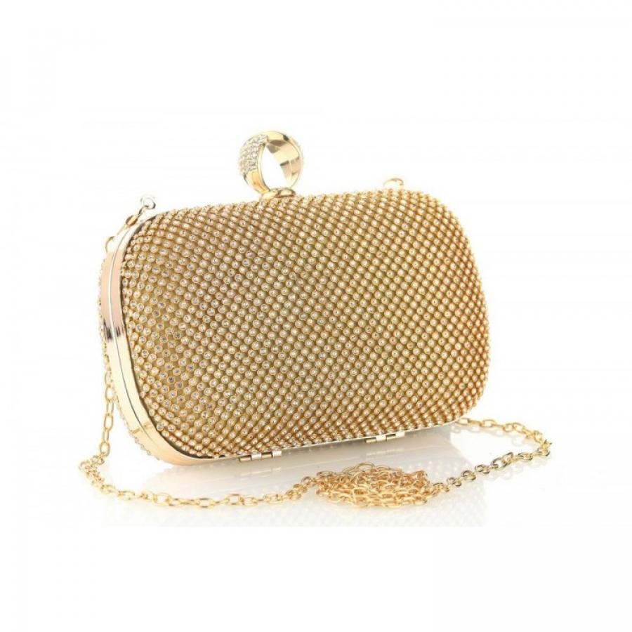 Elegantná kabelka s kamienkami zlatá