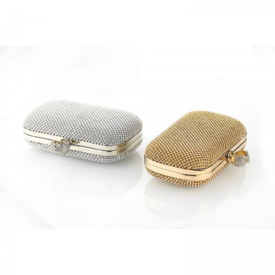 Elegantná kabelka s kamienkami strieborná