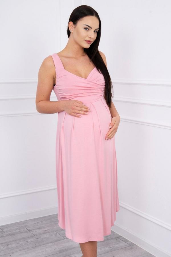 Šaty so širokými ramienkami ružové