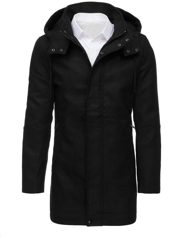 Pánsky kabát s kapucňou čierny