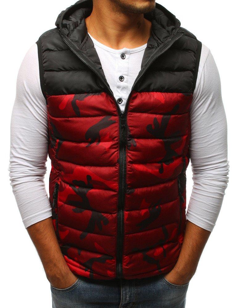 Pánska vesta s kapucňou červená