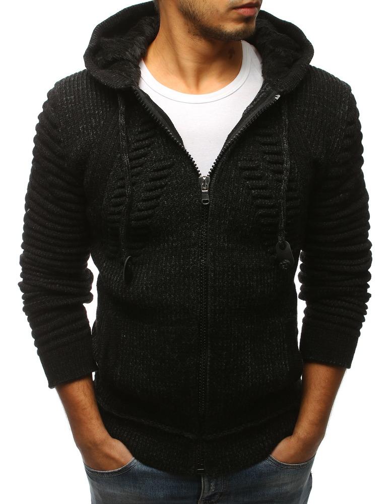 Pánsky sveter na zips čierny